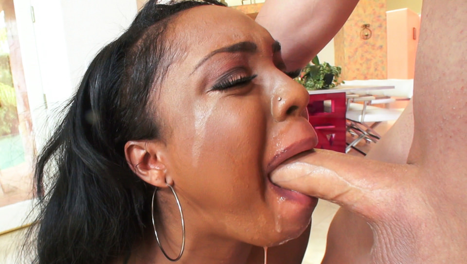 Mature ebony forced deepthroat #5