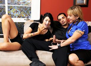 Mother Teaching Daughter How To Suck Cock #04, Scene #03