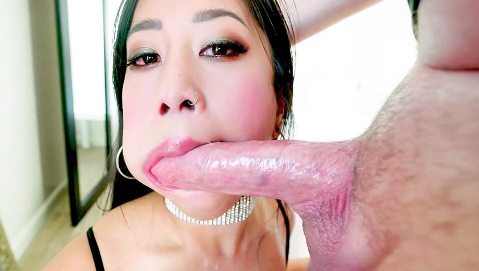 BJ Spit, Cum In Asian Jade's Cleavage